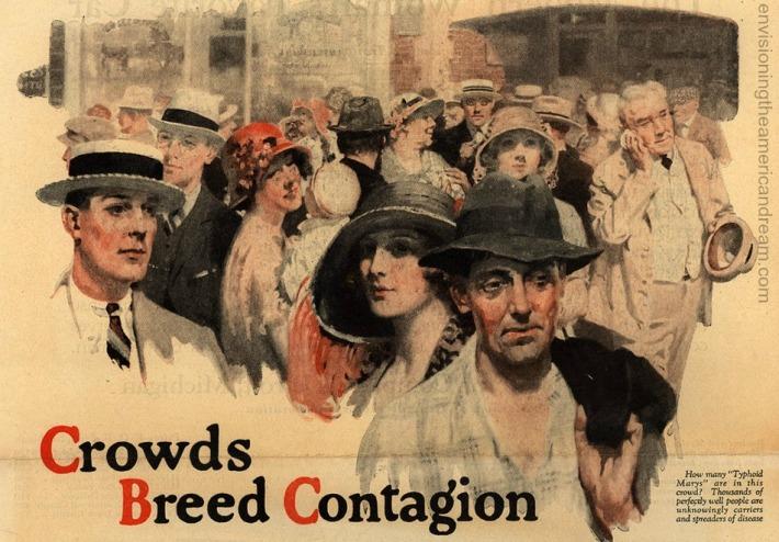 Vintage 1923 illustration crowds health message