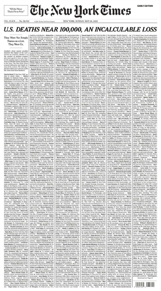 NY Times Near 100,000 US Deaths Memorial Day 2020