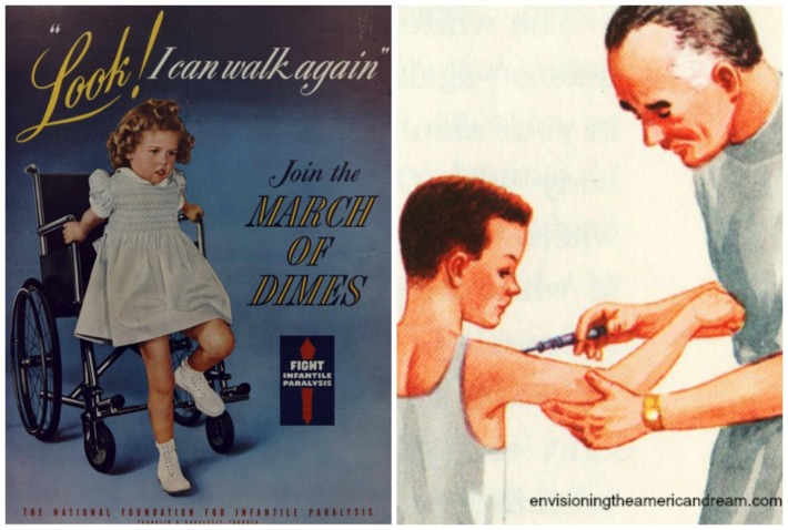 Vintage March of Dimes Poster and illustration of child getting a shot