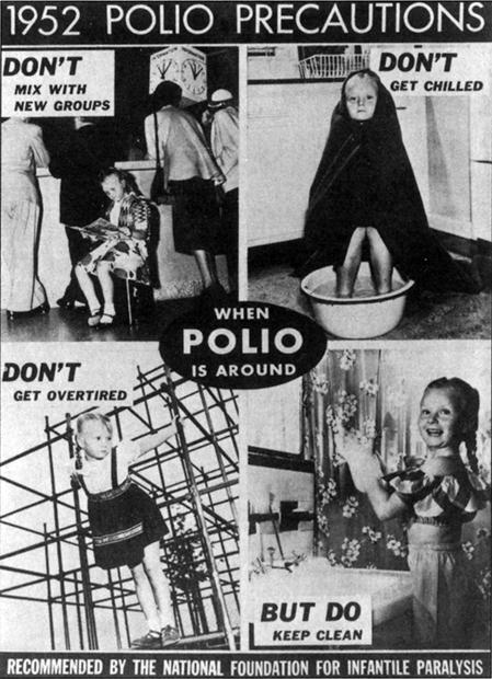 Vintage polio Precautions poster
