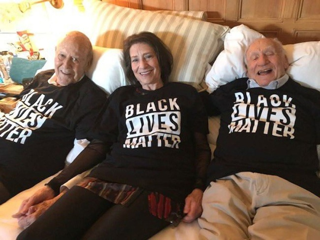 Carl Reiner with daughter Annie Reiner and Mel Brooks Wearing BLM T shirts