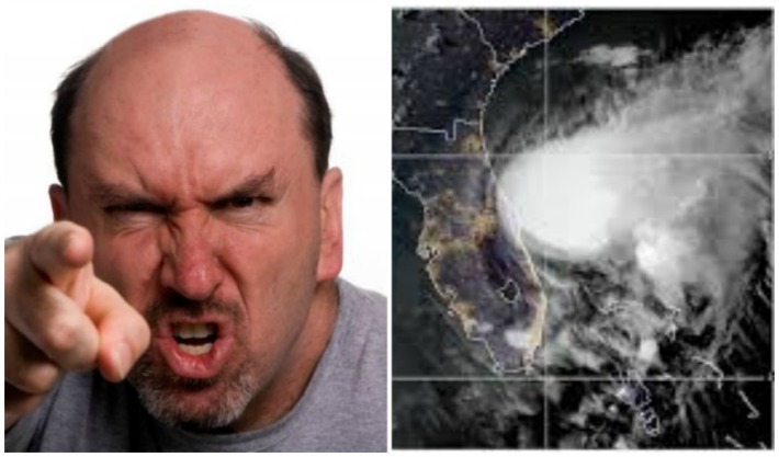 Man angry and storm weather map