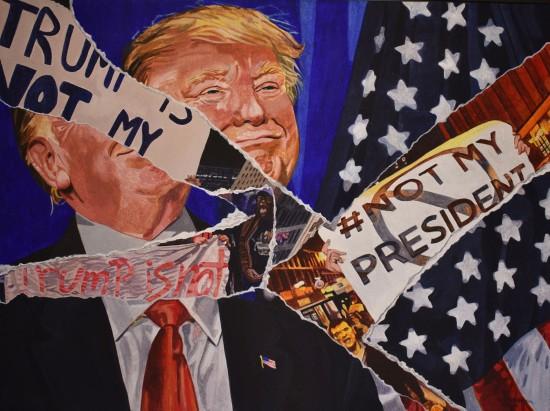 "Valerie Patterson ""Not My President"" 2016 Acrylic 24"" x 30"""
