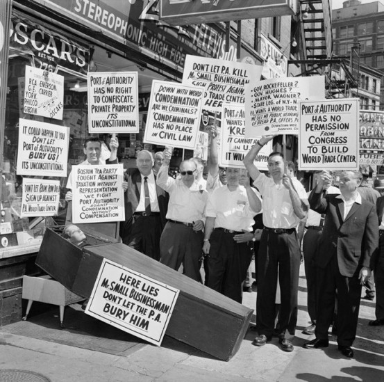 Radio Row Businessmen protest the destruction of Radio Row