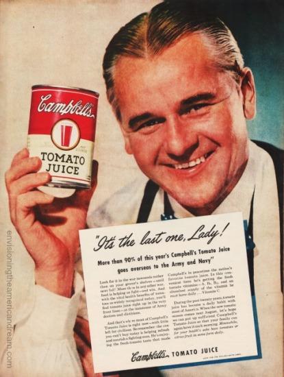 Vintage grocer holding can 1945