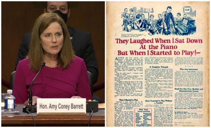 Amy Coney Barrett Hearings and Vintage Piano Ad