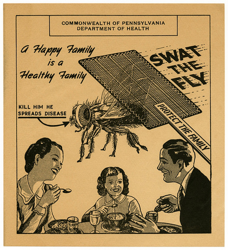 vintage anti fly campaign poster