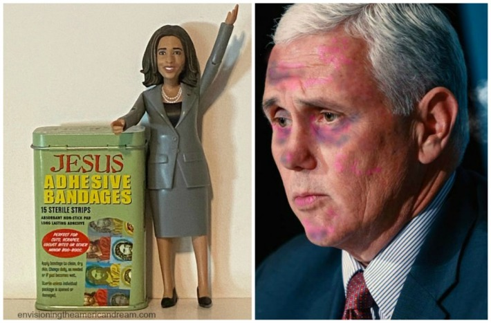 Kamala Harris Action Figure and Mike Pence.