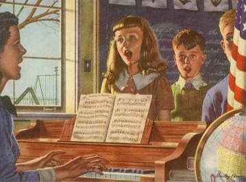 vintage illustration teacher playing piano children singing