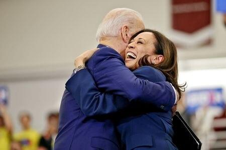 Joe Biden hugging Kamala Harris