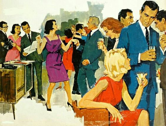 Vintage Illustration Cocktail Party