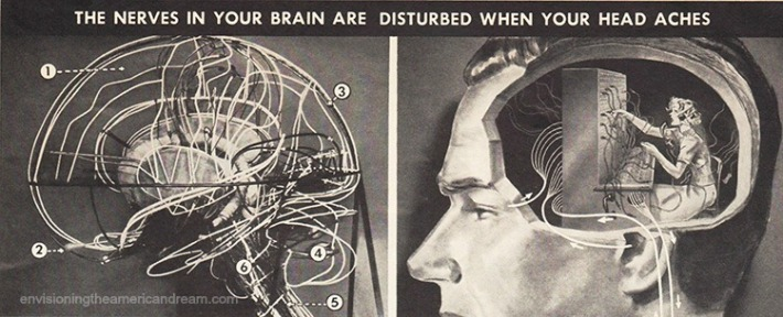 vintage illustration Ad Head ache