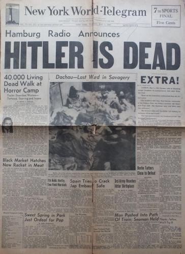 "Headline ""NY World-Telegram"" May 1, 1945, Hitler is Dead"