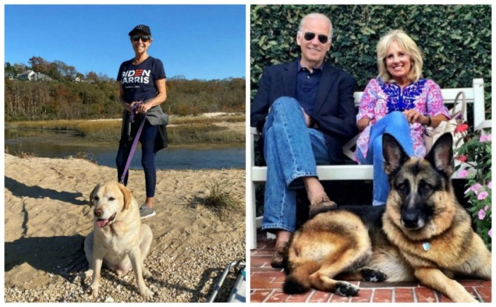 Sally Edelstein and dog stanley and Bidens and their dog