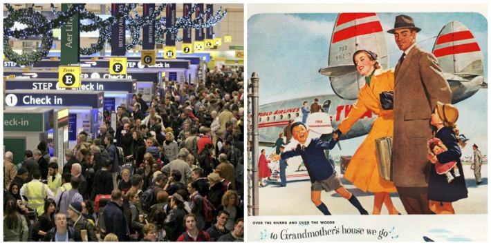 Crowded airport Thanksgiving now and Vintage ad TWA