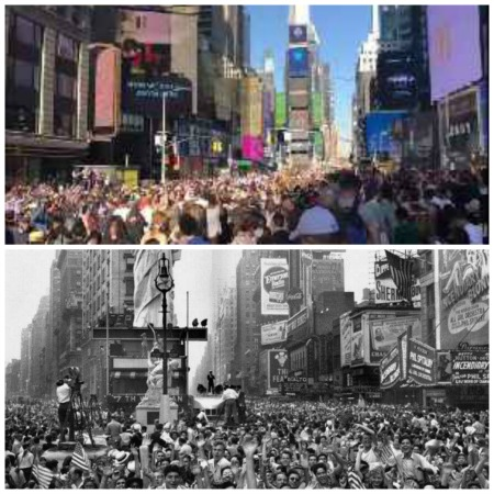 Times Sq. Celebrations 2020 Biden Win and VE Day 1945