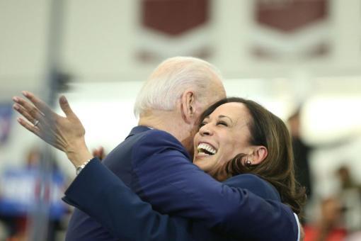 Joe Biden and Kamal Harris Hug