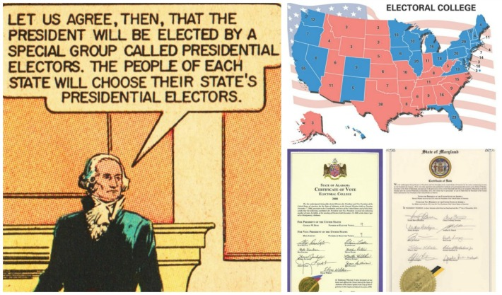 Electoral college comic and map