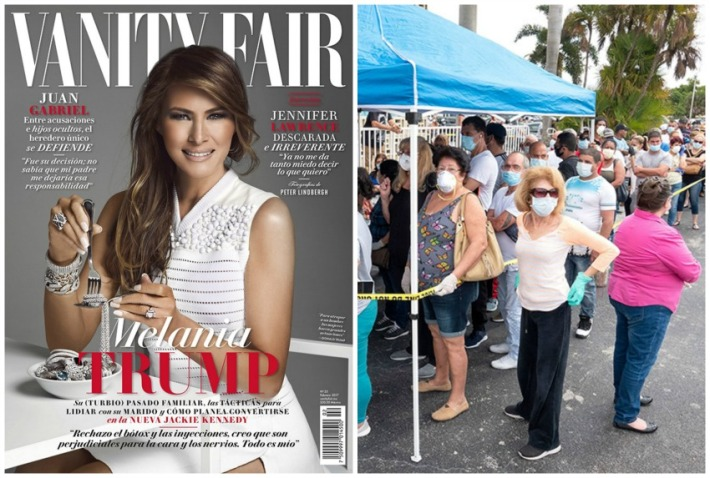 Melania Trump VF cover and Food lines foobanks