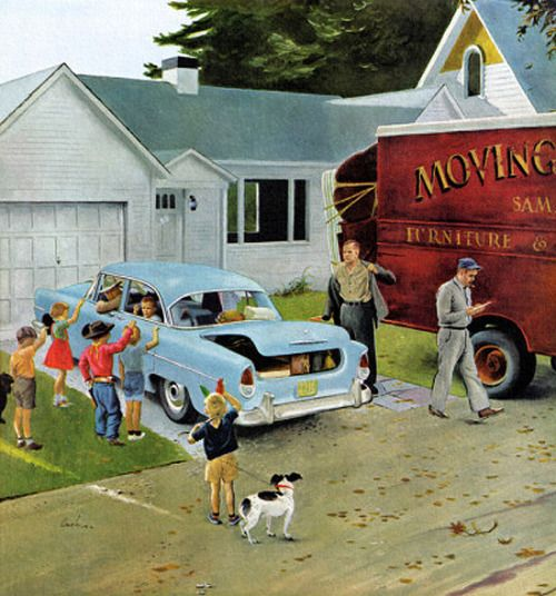 vintage illustration family moving