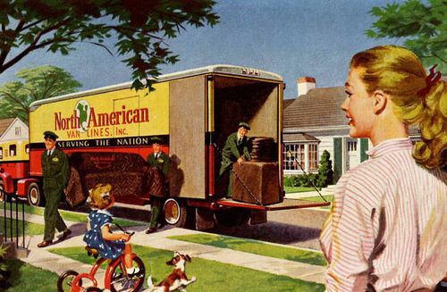 Vintage illustration Moving Day