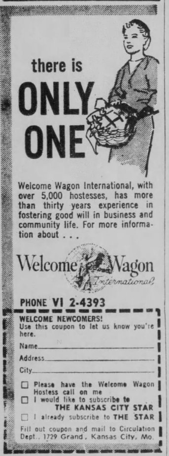 Vintage welcome wagon ad