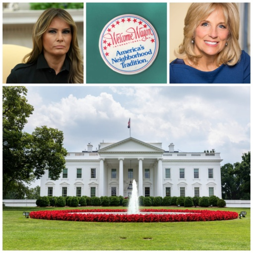 Melania Trump Jill Biden White house Welcome Wagon