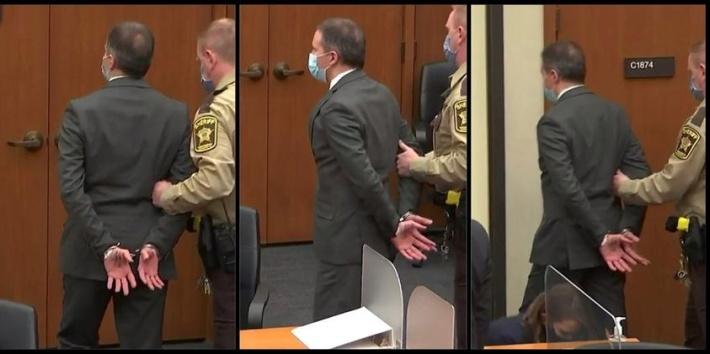 Derek Chauvin in handcuffs