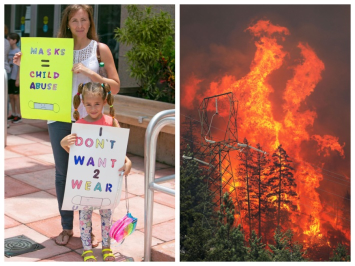 Anti Mask Protesters Florida and Calif Wildfires